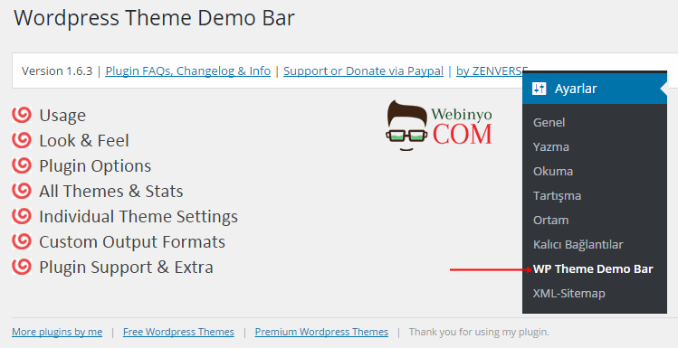 Wordpress Tema Önizleme Eklentisi - WordPress Theme Demo Bar 2