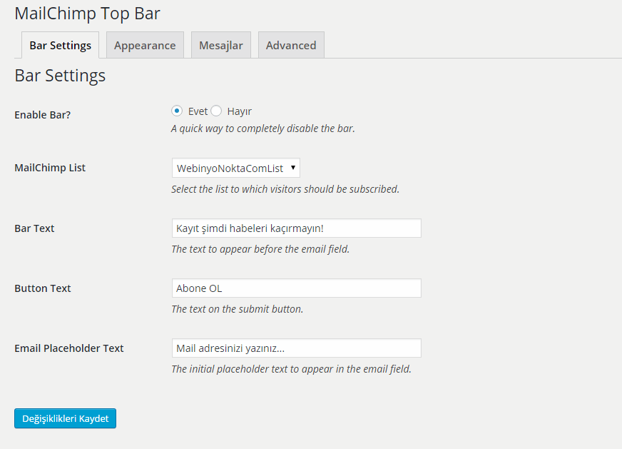 MailChimp Top Bar Ayarlar