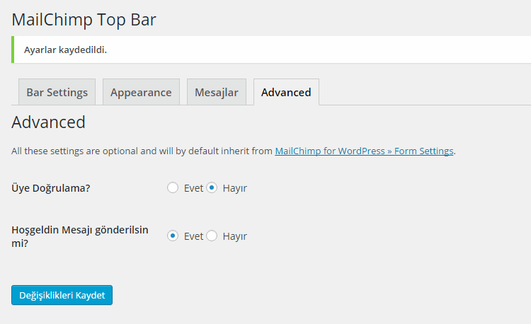 MailChimp Top Bar Diger