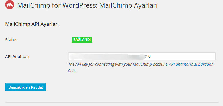 MailChimp for WP Ayarlar — WordPress