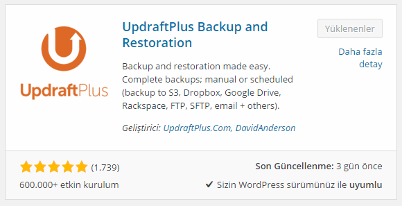 UpdraftPlus Backup and Restoration kur
