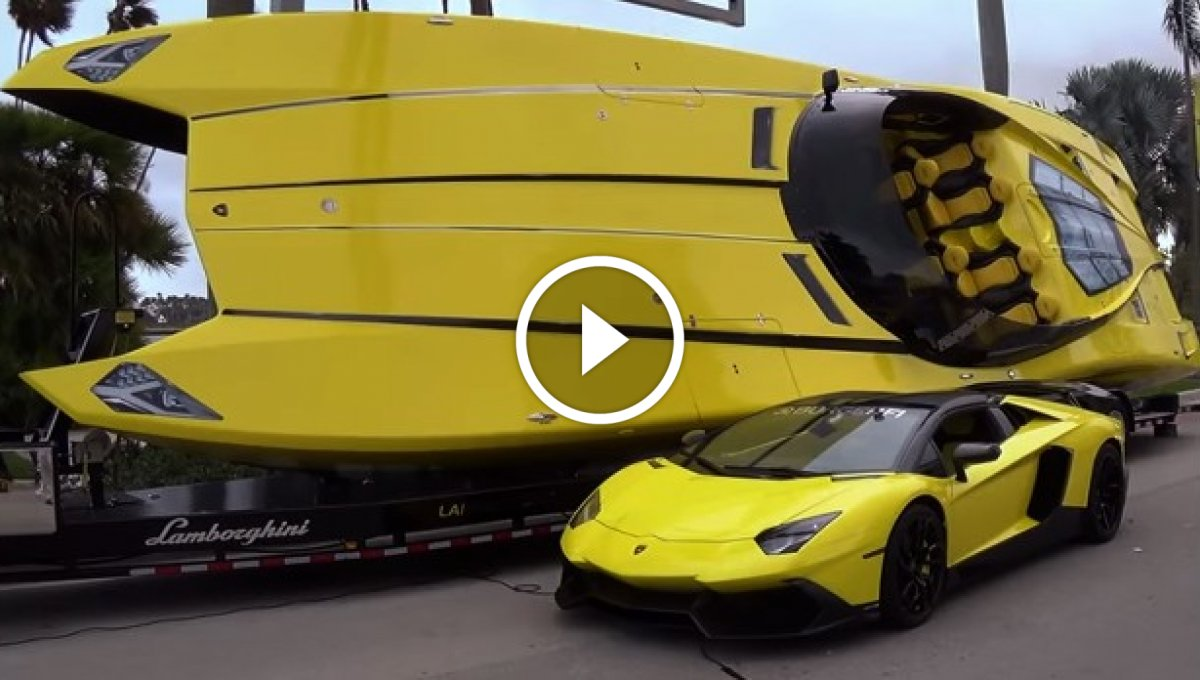 Lamborghini Aventador ve Sürat Teknesi [Video]