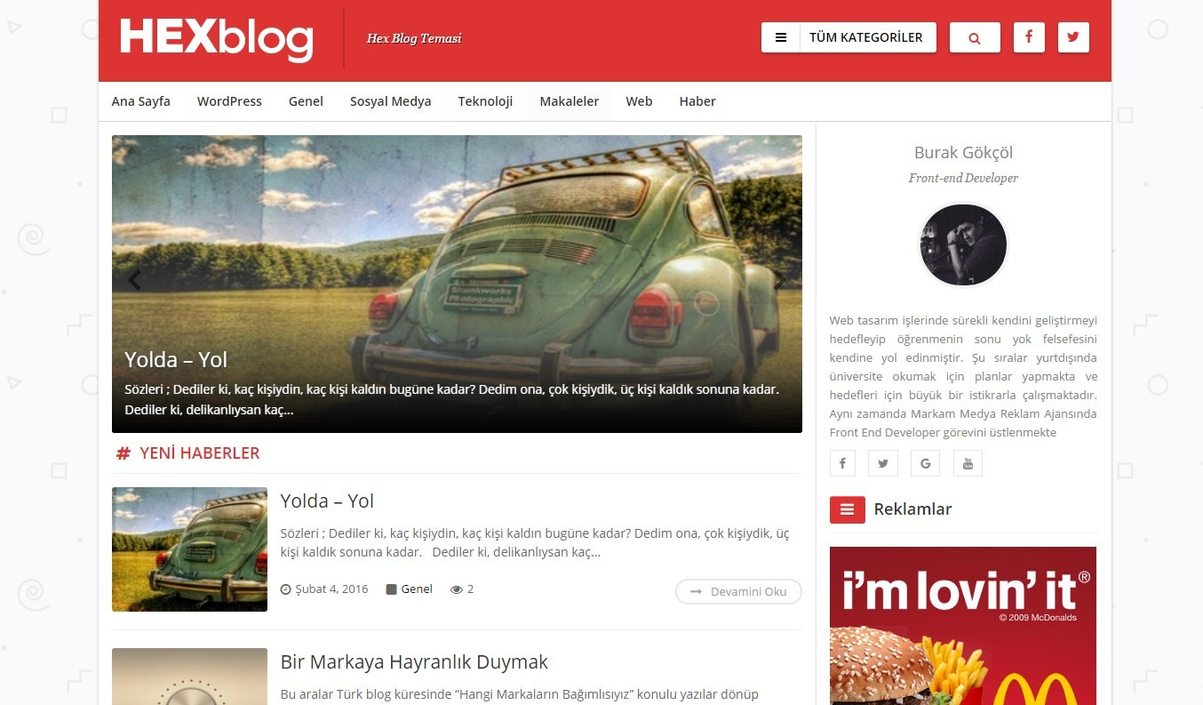WordPress HEX Blog Temasi | Full Responsive | Özel Yönetim Paneli