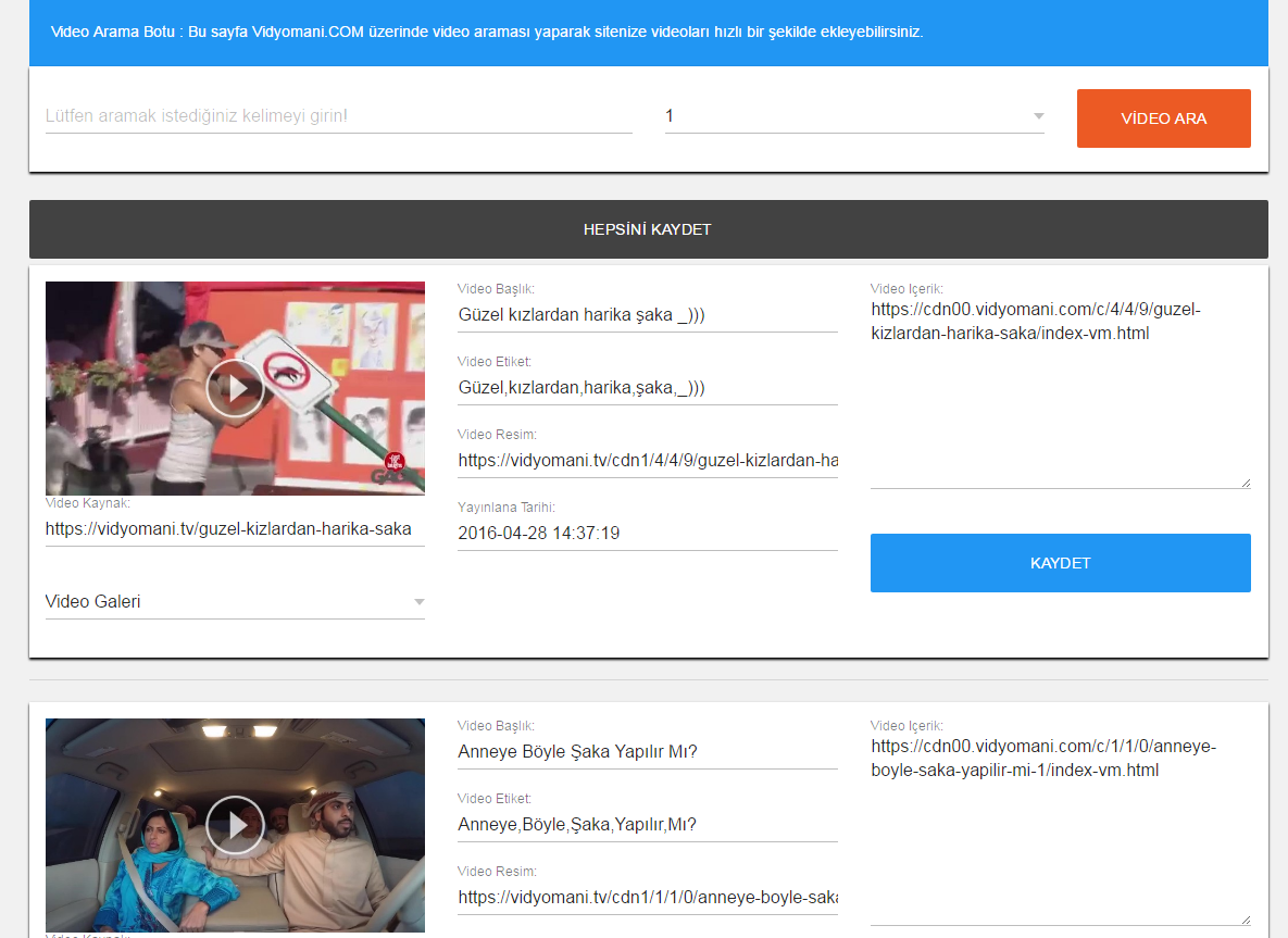 Wordpress Vidyomani Video Botu Arama