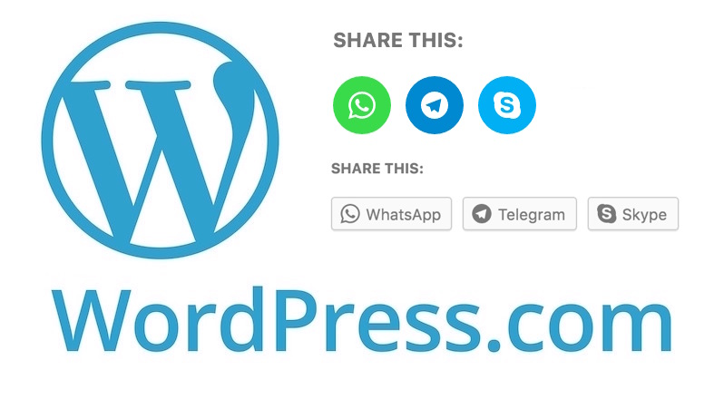 WordPress.com bloglarına Whatsapp, Telegram ve Skype dopingi